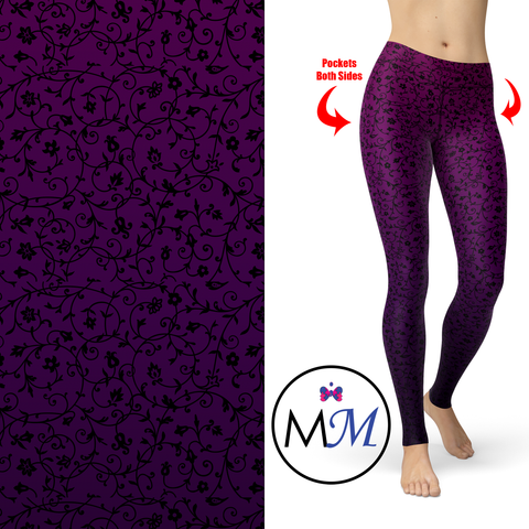 Boysenberry Ombre Leggings with Pockets