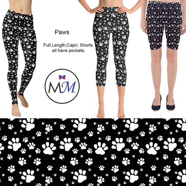 Custom Black and White Paw Prints Full, Capri, or Shorts.