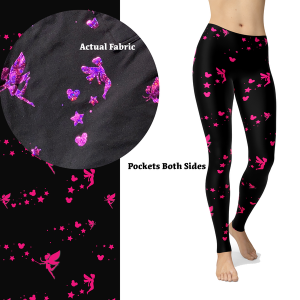 Pink Sparkle Fairy Leggings with Fairy Dust Glitter and Pockets