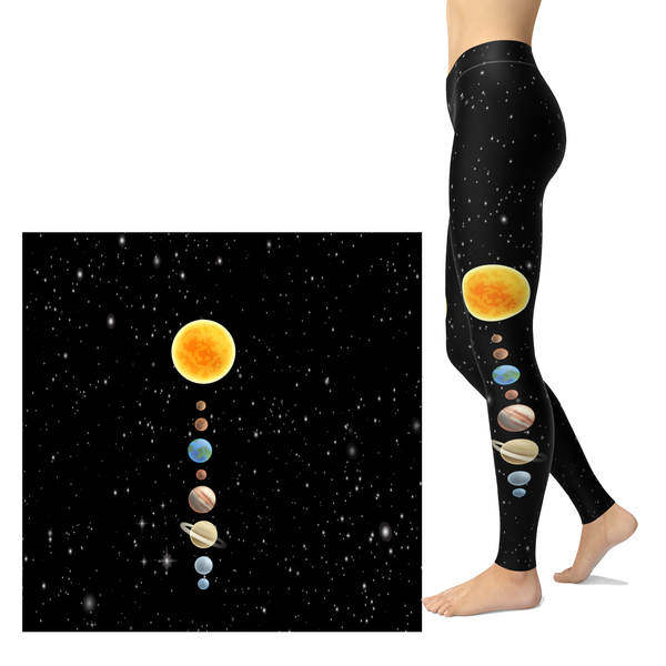 Planets Leggings and Sol in our Solar System Space Black Background Pocket