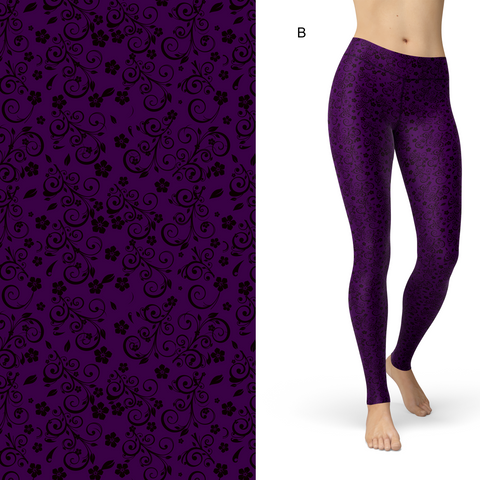 Purple and Floral Sugar Leggings with Pockets