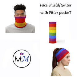 WS- Face Cover Gaiter -  Rainbow - Multiuse Reuseable with Filter Inserts -