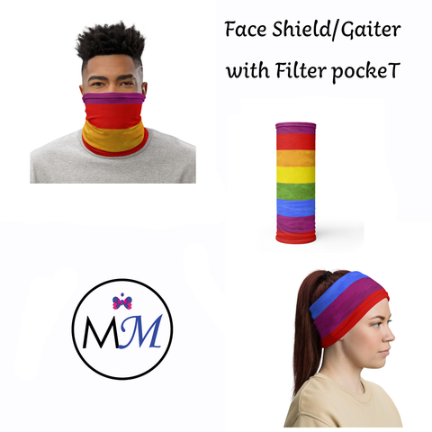 Face Cover Gaiter -  Rainbow - Multiuse Reuseable with Filter Inserts -