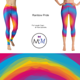 Rainbow Pride Leggings Full or Capri with Pockets