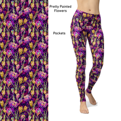 Pretty Painted Flowers  Leggings with Pockets