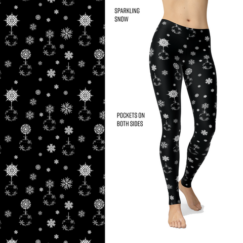 Sparkling Snow Leggings with White Flocking and Pockets
