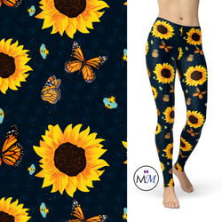 Butterfly, BumbleBee and Sunflowers Leggings with Pockets