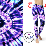 WS - Purple Passion Tie Dye Leggings and Pockets