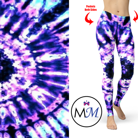 Purple Passion Tie Dye Leggings and Pockets