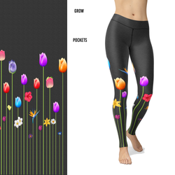 Flower Leggings with Tulips, Daisy, Lilly on a Gray Textured Background with Pocket