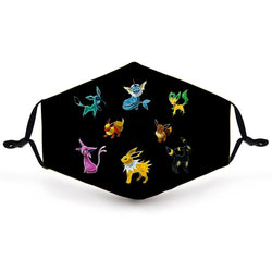 Kids Face Cover - Eevee Mask - Reuseable with 5 Filter Inserts - Ready to Ship