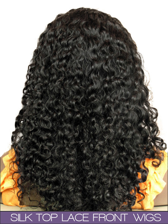 GLUELESS SILK TOP LACE FRONT WIG: Maella Indian Remy Somalian Curl