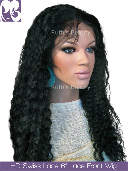HD SWISS LACE 6inches Lace Front Wig Eva Spanish Wave Virgin Hair 150%