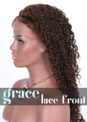 Clearance LACE FRONT WIG: water wave 18 4 reddish brown