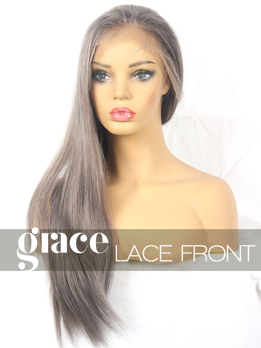 CLEARANCE LACE FRONT WIG: Ash Gray- Virgin Malaysian, Medium, Straight, 20