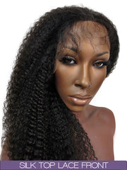 GLUELESS SILK TOP LACE FRONT WIG: Kinky Curly