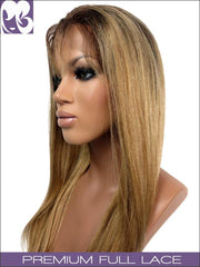 FULL LACE WIG: Light Yaki Blonde W Dark Roots 18