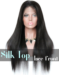 Glueless Silk Top Lace Front Wig: Yaki Straight