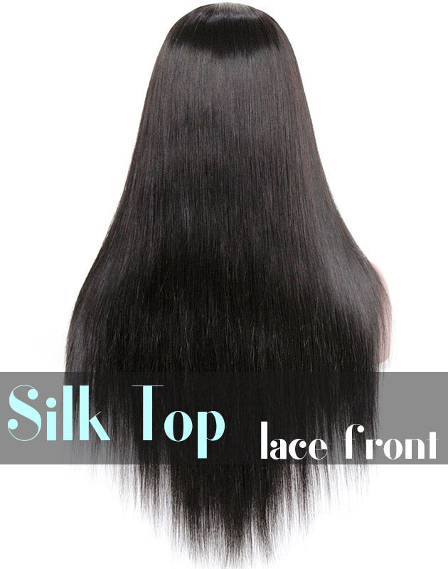 Glueless Silk Top Lace Front Wig: Silky Straight 150% Density Wigs