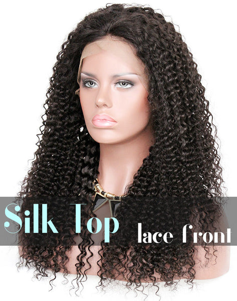 Glueless Silk Top Lace Front Wig: Kinky Curl Pre-plucked Hairline