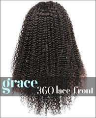 360 Lace Wig:Kinky Curl 150% Thick Density,Pre-plucked Hairline