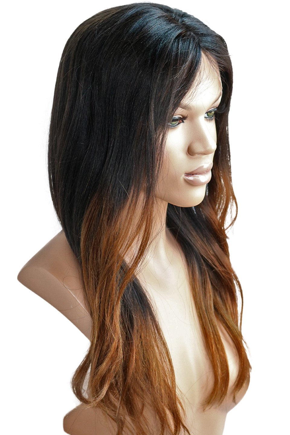 Clearance LACE FRONT WIG: Alissa Brown Ombre 16inches yaki medium cap