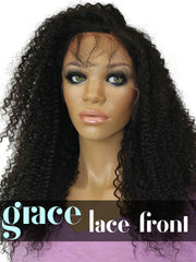 Clearance LACE FRONT WIG: Kyra Afro Kinky Curl Indian Remy Hair 20
