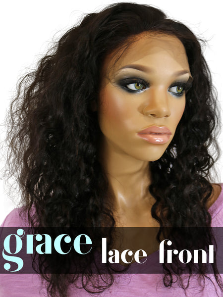 Clearance LACE FRONT WIG: Brazilian Curl 14 Jet Black Medium Cap