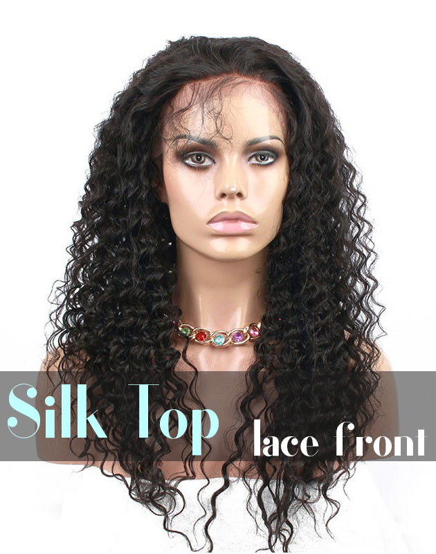 Glueless Silk Top Lace Front Wig: Deep Wave