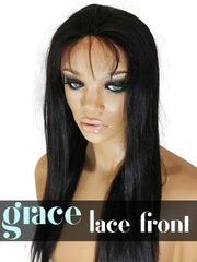 Clearance LACE FRONT WIG: Yaki Straight 16inches Natural Color