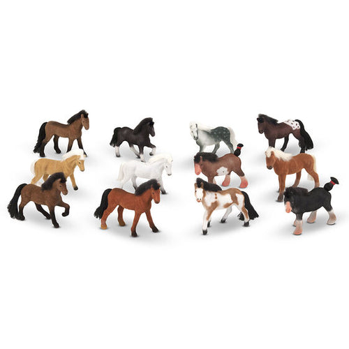 12 figurines de chevaux miniatures