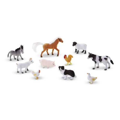 10 figurines d'animaux de la ferme miniatures