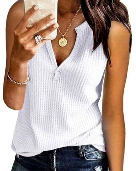 Sleeveless Waffle Weave Top in White