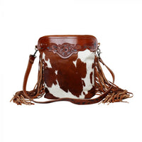 The Cowboy Hand Tooled Leather & Hairon Bag