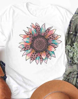 Colorful Sunflower T-Shirt - White