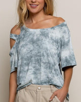 Cold Shoulder Tie-Dye Top Grey