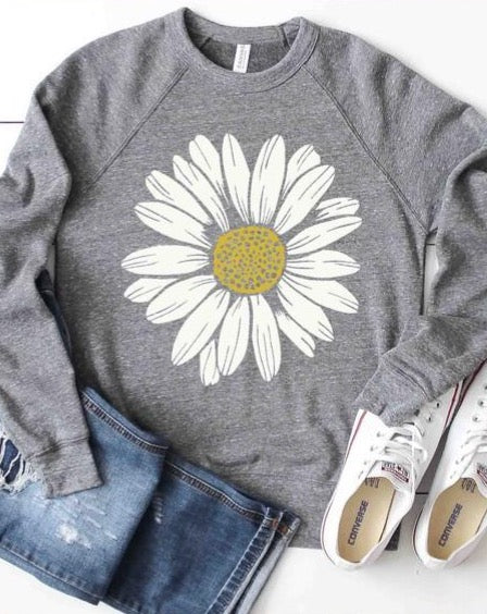 Daisy Flower Sweatshirt - Grey