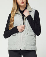 Reversible Quilted & Sherpa Vest - Grey