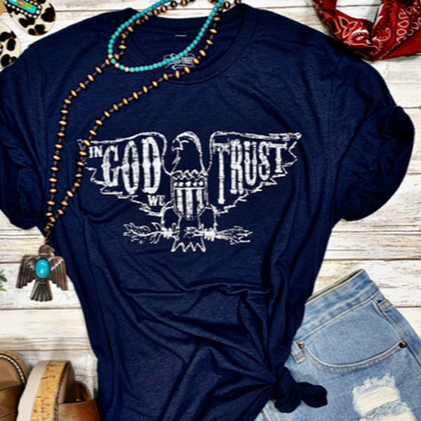 In God We Trust V-neck T-Shirt in Navy