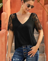Lace Sleeve V-Neck Top in Black