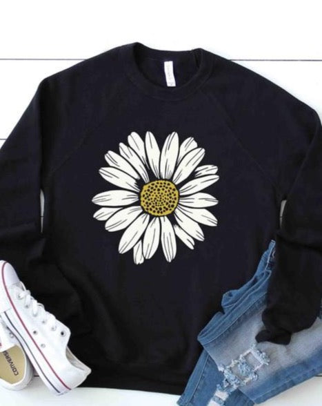 Daisy Flower Sweatshirt - Black
