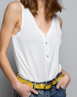 V-Neck Henley Tank in Ivory