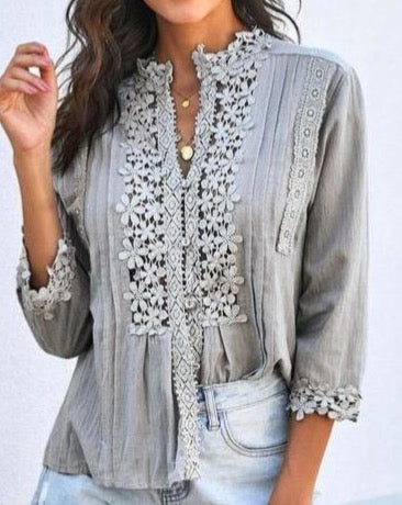 Crochet Detail Top in Grey