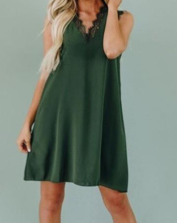 Lace Trim V-Neck Dress in Olive