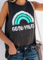 Good Vibes Sleeveless Top in Aqua