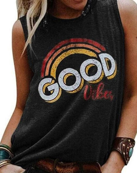 Good Vibes Sleeveless Top in Black