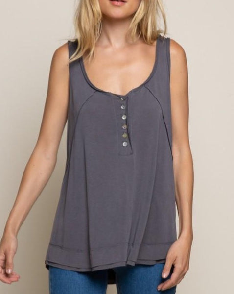 Henley Tank in Charcoal