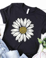 Daisy Flower T-Shirt - Black