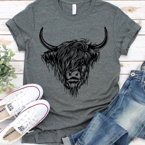 Highland Cow T-Shirt in Charcoal
