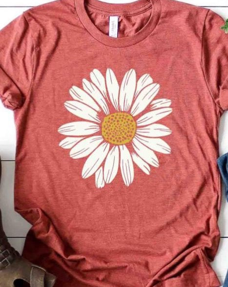 Daisy Flower T-Shirt - Rust